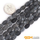 "Natural Black Agate Gemstone Frosted Matte Rice Beads For Jewelry Making 15"" YB"