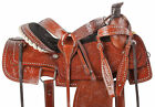 16 Roping Saddle Western Leather Ranch Work Roper Pleasure Trail Horse Tack Set