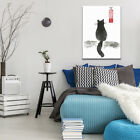 Japanese Cat Sumi-e Print Painting Wall Hanging Home Decor Room