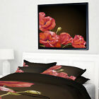 'Poppy Flowers Vector' Framed Oil Painting Print on Wrapped Canvas