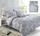 Paisley Grey/Black/Teal Duvet Cover Bedding Set Reversible Single to S.King Size
