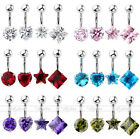 1/4/6pc Stainless Steel Cubic Zirconia Crystal Belly Button Navel Ring BarbellCA