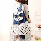 Cute Girl Sweet Backpack Dots Satchel Bookbag Lace Bow Casual Canvas Backpack