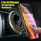2in1 Qi Wireless Car Fast Charger Magnetic Phone Holder For iPhone X XS Max R 8