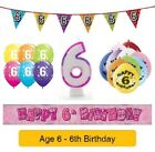 Happy 6th Birthday AGE 6 Party Balloons Banners Badges & Decorations Helium GIRL