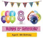Happy 8th Birthday AGE 8 Party Balloons Banners Badges & Decorations Helium GIRL