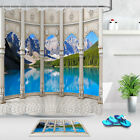 Historical Columns Mountain Landscape Waterproof Fabric Shower Curtain Set 180cm
