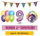 Happy 9th Birthday AGE 9 Party Balloons Banners Badges & Decorations Helium GIRL