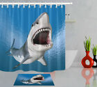 Bathroom Waterproof Polyester Fabric Shower Curtain Set Great White Shark Themed