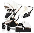 high quality leather baby car baby stroller 3in1 baby carriage Aluminum Babyfond