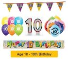 Happy 10th Birthday AGE 10 Party Balloons Banners Badges Decorations Helium (1C)