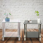 Black /clear Glass&stainless Steel 2 Tiers Display Stand Side Lamp Coffee Table