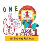 RAINBOW 1st First BIRTHDAY Party Accessories Items Supplies Decorations