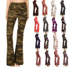 S-XL Womens Prints Long Stretch Pants Pull On Mid Rise Bootcut Flare Lounge Yoga