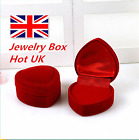 Heart Shaped Ring Box Red Carrying Case Rings Earring Jewelry Box Gift Hot Uk