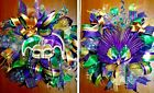 Handmade Deco Mesh Pre Lit Mardi Gras Wreath Set of 2 or Buy Individually