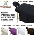 Flannel Massage Table Sheets 3 Pc Set Cotton Flat Fitted Sheet Face Rest Cover image