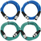 Kyпить 4 Pack of XLR Patch Cables 10 Feet Extension Cords Jumper 3 Pin  Various Colors на еВаy.соm