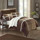 Chloe Plush Microsuede Sherpa Lined Brown 3 Piece Comforter & Shams Set image