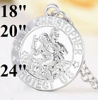 925 Sterling Silver Mens Womens Chain Link Chain Necklace Oval Saint Christopher