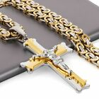 Hip Hop Punk Jewelry Men Chain Jesus Pendant Cross Necklace Stainless Steel