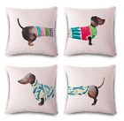 DACHSHUND Cushion Covers! Funny Sausage Dog Art Painting Pillow 45cm Gift UK