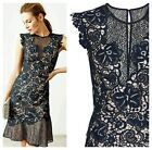 ex Reiss June Lace Embroidered Frill Hem Occasion Cocktail Dress RRP250