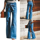 Fashion Womens High Waist Jeans Casual Bell-bottom Trousers Slim Fit Wide Leg