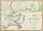 1815 Map of New Orleans and Adjacent Country Wall Poster Vintage Historic Print