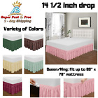 """Bed Skirts Dust Ruffle 18"""" Drop Queen King Elastic Black White Pink Yellow Grey image"""