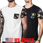 US Men's O Neck Short Sleeve Pocket Muscle Tee Shirts Casual T-shirt Tops Blouse image