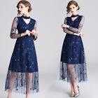Women's Mesh Long Sleeve Sequins Swing Tunic Embroidery Lace Dress Blue Lit01