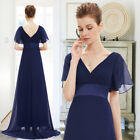 Ever-Pretty US Navy V-neck Bridesmaid Dress Long Chiffon Evening Gown Plus 09890