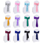 10/25pcs Satin Wedding Chair Cover Bow Sashes Ribbon Tie Back Sash Banquet Decor
