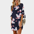 CA Womens Floral Long Tops Blouse Ladies Summer Beach Mini Tunic Dress Plus Size