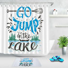 Go Jump In The Lake Hand Letterings Bath Waterproof Fabric Shower Curtain Set