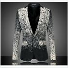 New Stylish Mens Floral Printed Casual Business Fomal Suit Blazer Coat Jacket