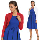 Womens 3/4 Sleeve Bolero Cotton Shrug Cardigan Crop Top Coat Jacket Blouse Shirt