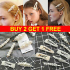 Fashion Girl Women Pearl Hairpin Side Card Bangs Web Celebrity Hair Clips Pin HL