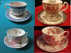 JOHNSON BROS HEART FLOWERS, CHINTZ, COLONIAL OVERHANG, CHIPPENDALE CUP SAUCERS