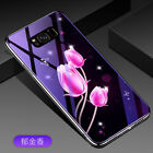 Pattern Tempered Glass Mirror Hard Case Rubber Bumper Cover for Samsung Galaxy