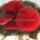 Red - Real Shearling Sheep Fur w Fox Fur Slides Slippers Sandals Shoes Sliders