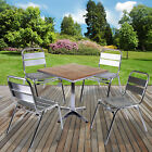 Chrome Bistro Sets Aluminium Outdoor Garden Cafe Furniture Ash Wood Square Table