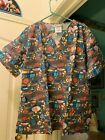 SCRUB TOP SIZES: XS, S, M, XL ALL THE FISH IN THE SEA NWT NURSE MEDICAL VET CNA