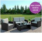 Rattan Garden Sofa Furniture Set Patio 4 Seater Armchairs Table FREE COVER