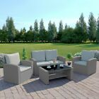 Rattan Garden Sofa Furniture Set Patio 4 Seater Armchairs Table