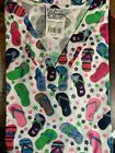 SCRUB TOP SIZES: S, M, L FLIP FLOPS NWT NURSE MEDICAL CNA DENTAL UNIFORM WORK