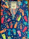 SCRUB TOP SIZES: XS, S, M, L, XL FLIP FLOP MOOD NWT NURSE MEDICAL CNA DENTAL
