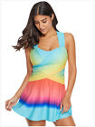 Women's Color Block Rainbow Printed Tankini Swim Dress with Shorts Swimsuits