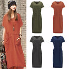 Women's Tunic Shirt Dresses Long Maxi Dress Split Party Casual Loose Plus Size